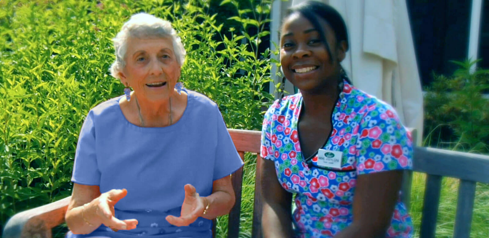 Resident & Staff at Foulkeways Personal Care / Assisted Living
