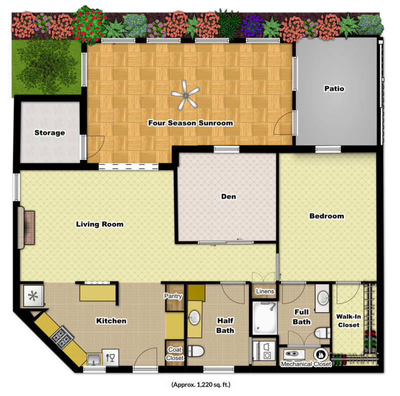 One bedroom den sunroom foulkeways at gwynedd for Apartment floor plans 1 bedroom with den