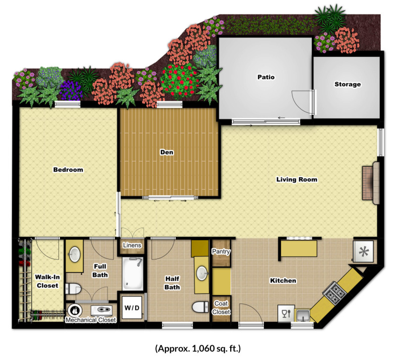 One bedroom den foulkeways at gwynedd for Apartment floor plans 1 bedroom with den