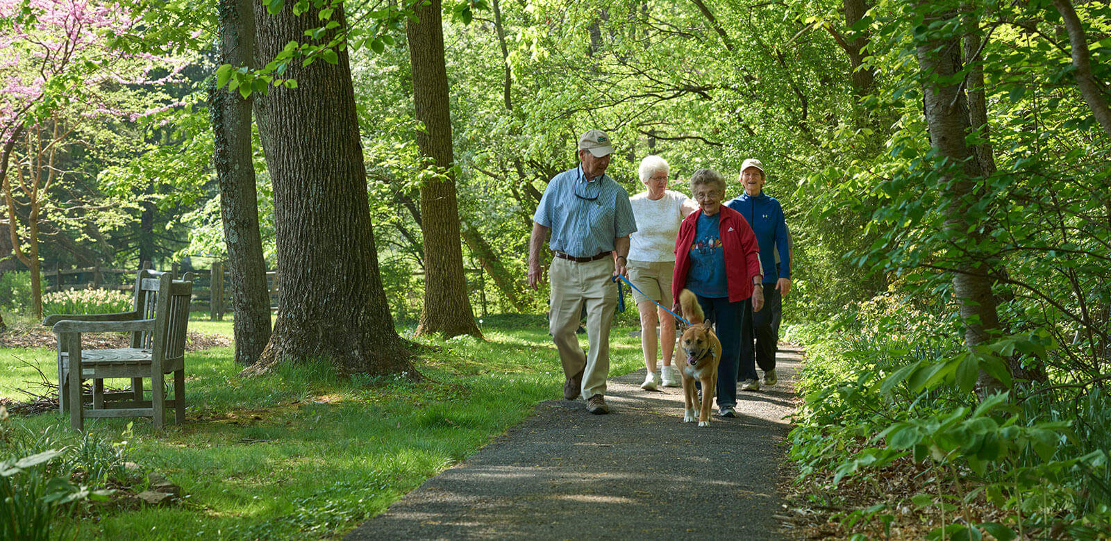 Residents walking on one of the many paths on the Foulkeways expansive campus